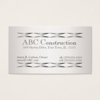 Cartões de visitas de prata do trabalhador manual