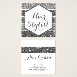 Cartões de visitas de prata elegantes do hexágono