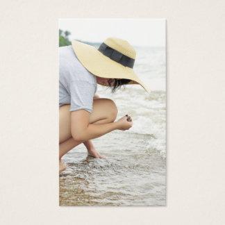 Cartões de visitas de vidro da caça da praia