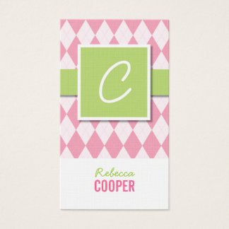 Cartões de visitas do argyle do monograma no rosa