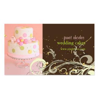Cartões de visitas do bolo de casamento do rosa e