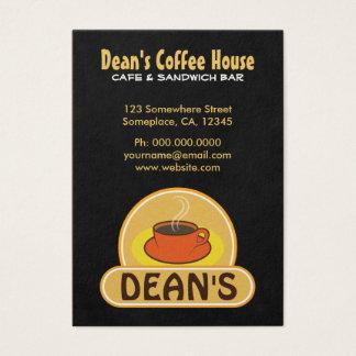 Cartões de visitas do café da cafetaria do preto
