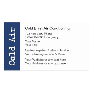 Cartões de visitas do condicionamento de ar