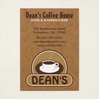 Cartões de visitas do costume do café da cafetaria