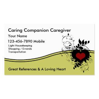 Cartões de visitas do cuidador