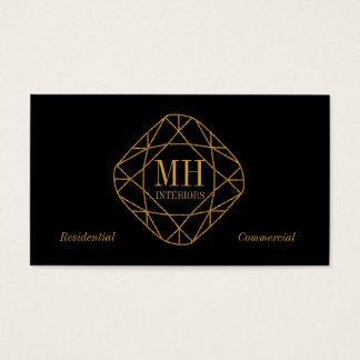 Cartões de visitas do diamante do ouro do