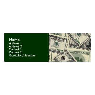 Cartões de visitas do dinheiro/negócio