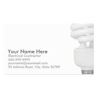 Cartões de visitas do eletricista (ampola)