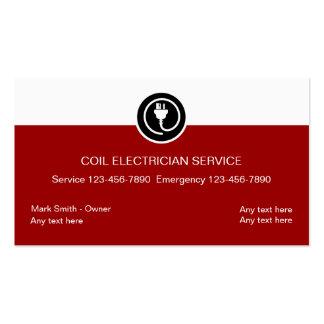 Cartões de visitas do eletricista vermelhos e