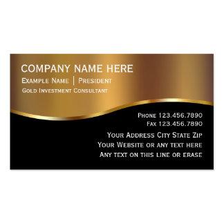 Cartões de visitas do investimento do ouro