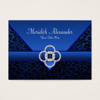 Cartões de visitas do leopardo dos azuis marinhos