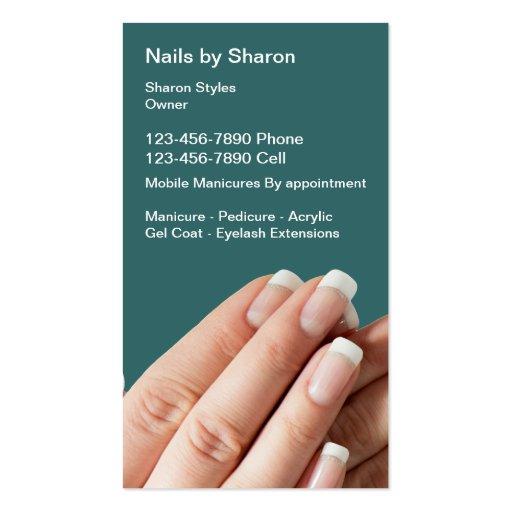 Cartões de visitas do Manicure do prego