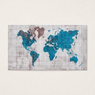 cartões de visitas do mapa do mundo