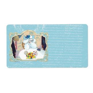 Cartões de visitas do partido da caniche do chá & etiqueta de frete