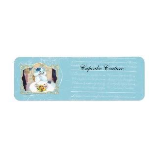 Cartões de visitas do partido da caniche do chá & etiqueta endereço de retorno