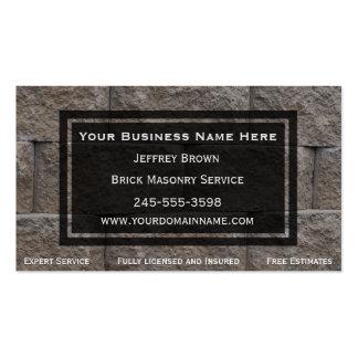 Cartões de visitas do pedreiro da parede de tijolo
