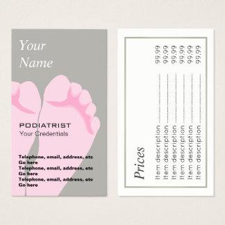Cartões de visitas do preço do pedicuro do