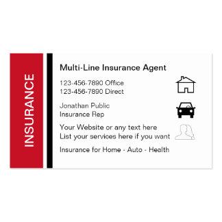 Cartões de visitas do representante do seguro