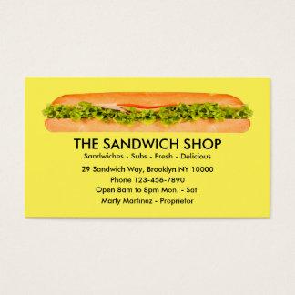 Cartões de visitas do restaurante do sanduíche