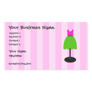 Cartões de visitas do rosa da loja de vestido