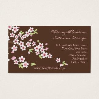 Cartões de visitas do rosa e da flor de cerejeira