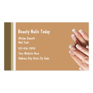 Cartões de visitas do salão de beleza do prego