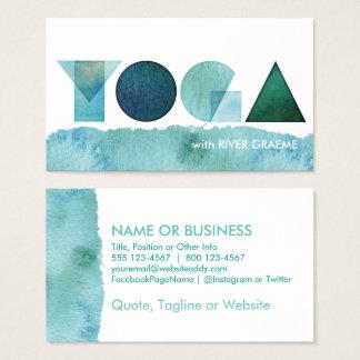 Cartões de visitas do verde azul da aguarela da