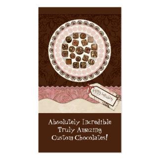 Cartões de visitas doces da loja do chocolate feit