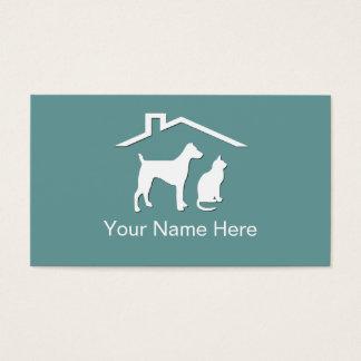 Cartões de visitas dos cuidados dos animais de