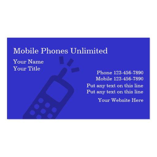 Cartões de visitas dos telefones móveis