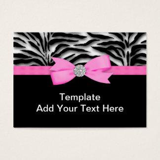 Cartões de visitas elegantes da zebra do rosa