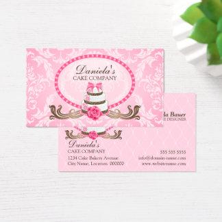 Cartões de visitas elegantes do damasco da padaria