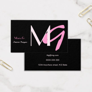 Cartões de visitas femininos cor-de-rosa do