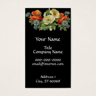 Cartões de visitas florais da arte da papoila e