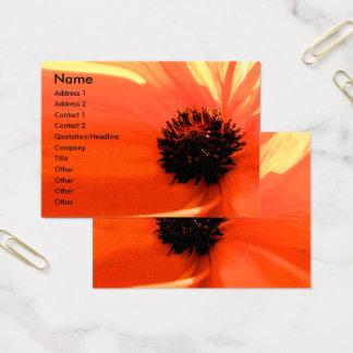Cartões de visitas florais da papoila coral