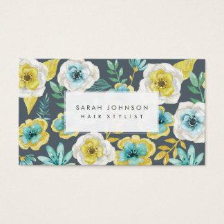 Cartões de visitas florais do cabeleireiro da