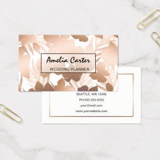 Cartões de visitas florais do ouro cor-de-rosa