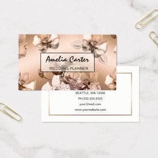 Cartão De Visitas Cartões de visitas florais do ouro cor-de-rosa