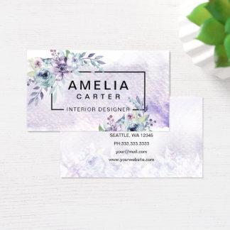 Cartão De Visitas Cartões de visitas florais femininos da aguarela