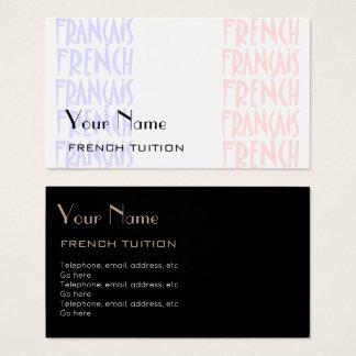 Cartões de visitas franceses do tutor