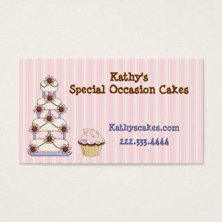 Cartões de visitas listrados cor-de-rosa doces da