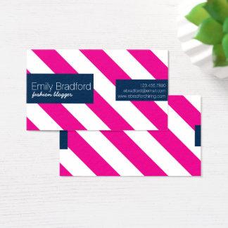 Cartões de visitas listrados do rosa quente e dos