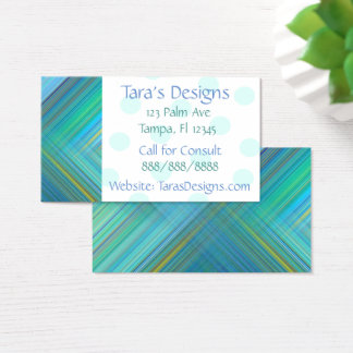 Cartões de visitas listrados do verde azul