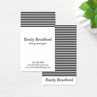 Cartões de visitas listrados preto e branco