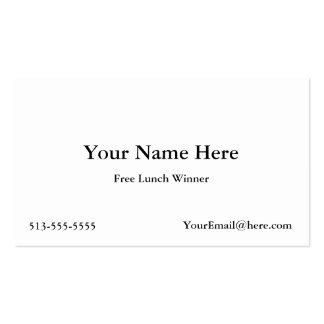 Cartões de visitas livres do vencedor do almoço
