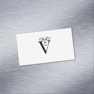 Cartões de visitas magnéticos da cara da letra