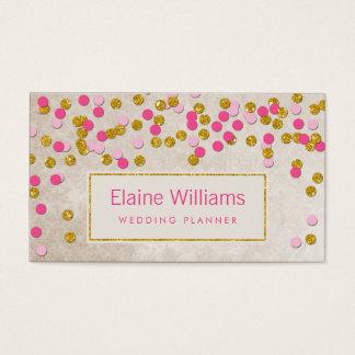 cartões de visitas modernos dos confetes do rosa