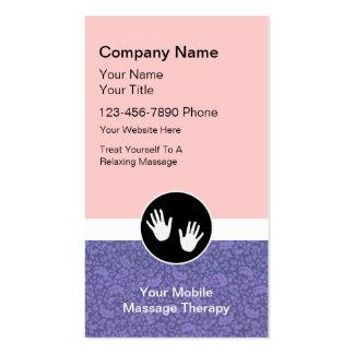 Cartões de visitas móveis da massagem
