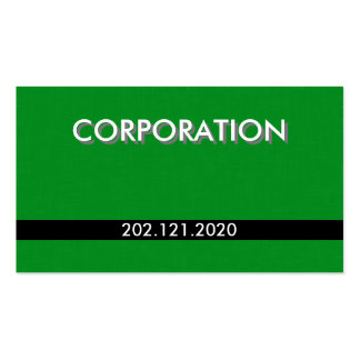 Cartões de visitas padrão de linho verdes com nome