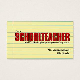 Cartões de visitas para o professor primário